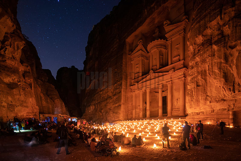 Petra by Night in front of the Treasury