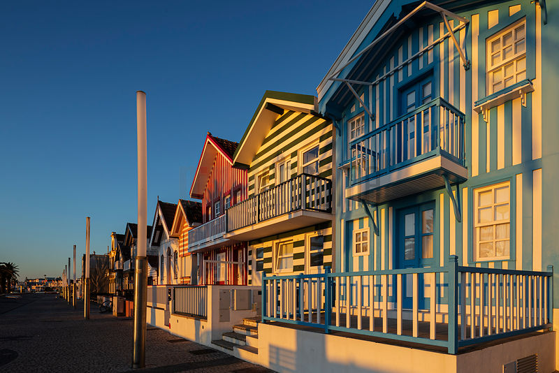 Colourful Houses (Palheiros)  at Costa Nova Beach at Sunrise