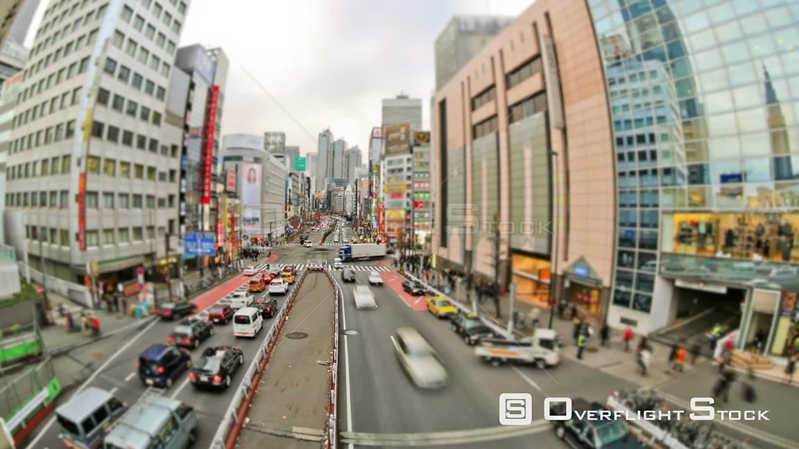 City traffic time lapse of busy Tokyo streets downtown Japan