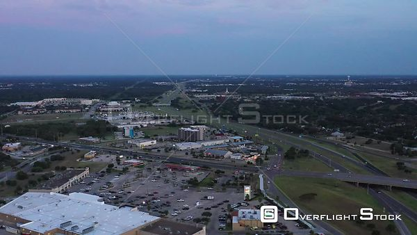 Suburban Commercial Scene at Dusk, Bryan, Texas, USA