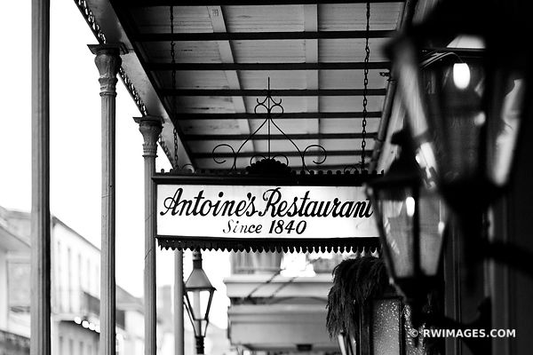 ANTOINE'S RESTAURANT SIGN FRENCH QUARTER NEW ORLEANS LOUISIANA BLACK AND WHITE