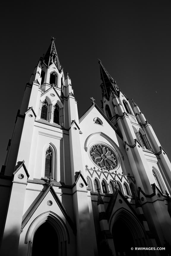 CATHEDRAL OF ST. JOHN THE BAPTIST HISTORIC SAVANNAH GEORGIA BLACK AND WHITE