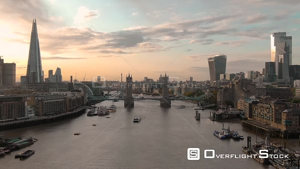 City of London Skyline The Shard and Tower Bridge, filmed by drone in autumn, during day time, London, United Kingdom