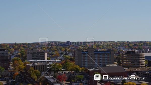 Manchester New Hampshire Slow, lower vantage panoramic of downtown cityscape