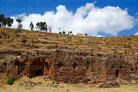 Part of south wall of Inca temple of Iñak Uyu, Moon Island, Lake Titicaca, Bolivia