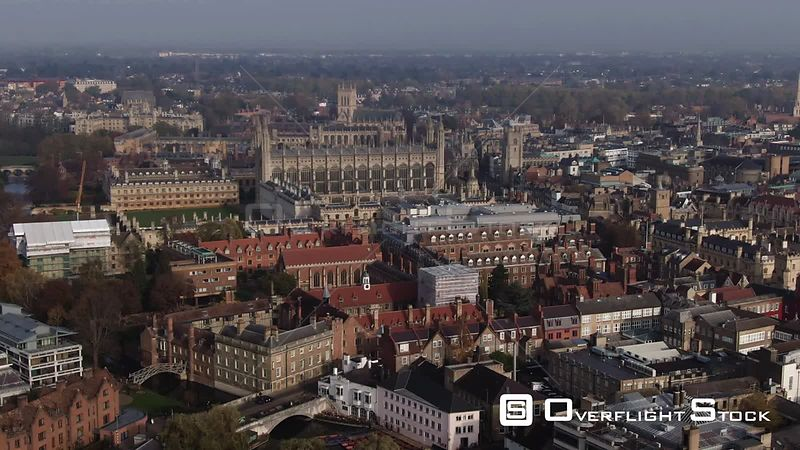 Aerial approaching view of the center of the town of Cambridge England from the South. United Kingdom