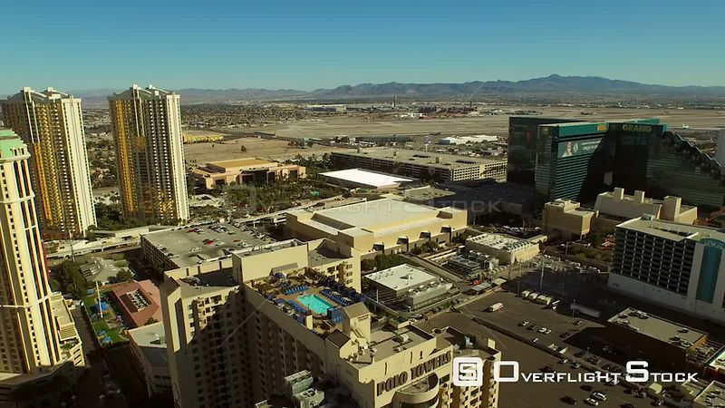 Low flying aerial over strip towards airport Las Vegas Nevada