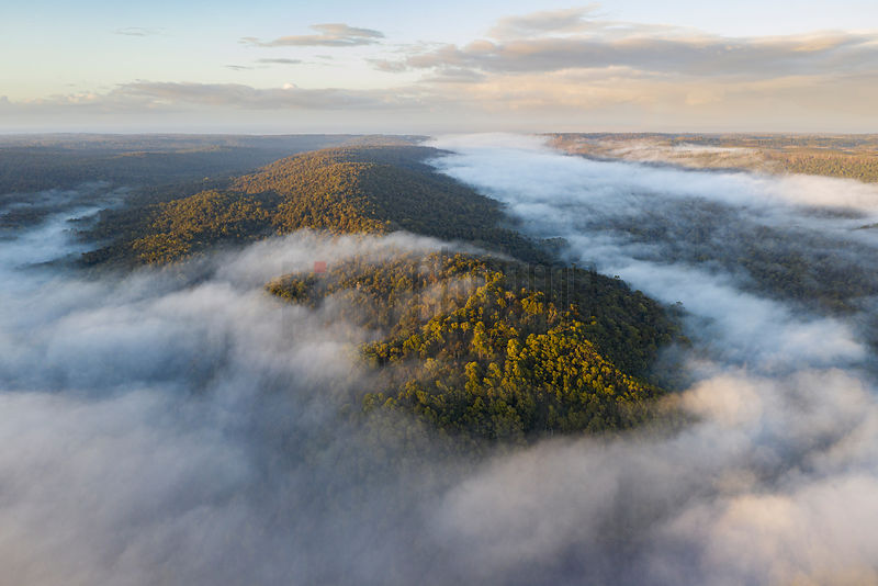 Aerial View of the Landscape above the Pieman River at Sunrise