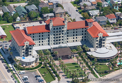 Aerial photo of Hotel Galvez in Galveston