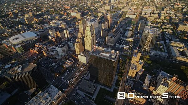 New Jersey Newark Aerial Birdseye Downtown Sunrise