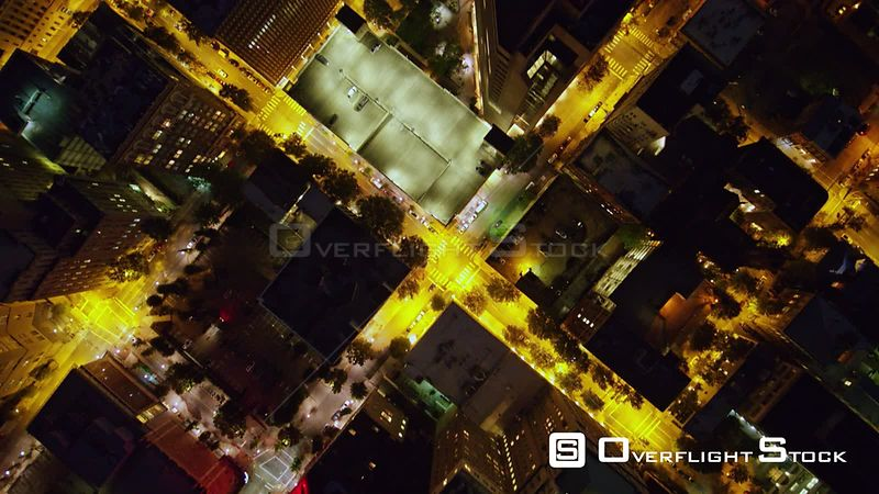 Richmond Virginia Aerial Vertical view of downtown at night