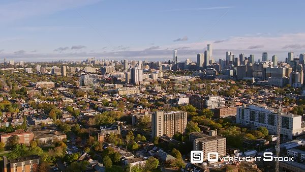 Toronto Ontario Panning from Alexandra Park view to downtown skyline view