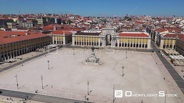 Praca Do Comercio, in Terreiro Do Paco, in Lisbon, Empty Streets, During Covid-19 Pandemic, on a Sunny Day, Portugal