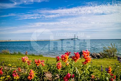 A silhouette of Mackinac Bridge in Mackinac, Michigan