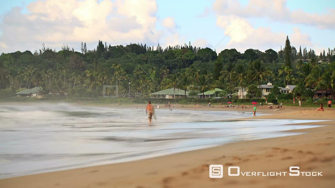 Beach time lapse clip with People and Surf  Hawaii