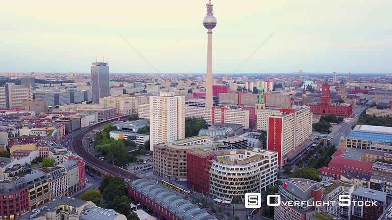 Germany Berlin Aerial Flying low around Hackescher Market area with cityscape views