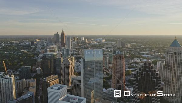 Atlanta Traversing at an angle from Midtown through Old Fourth Ward district with Downtown skyline cityscape