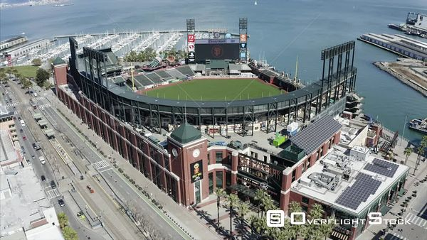 Oracle Park and Pier 40 The Embarcadero Drone Aerial View Covid19 Lockdown San Francisco California