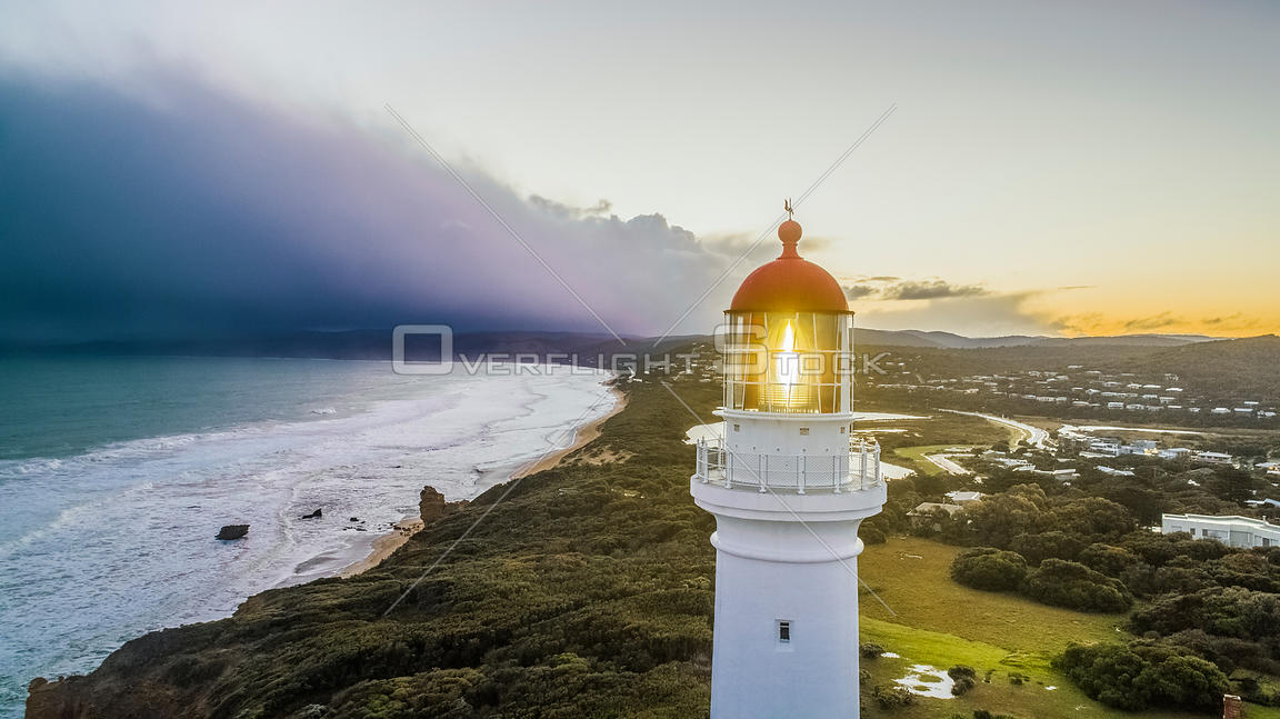 Drone shot of Aireys Inlet Lighthouse Victoria Australia