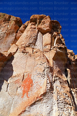 Rock outcrop with painting of human figure at Jawincha, near San Pedro de Quemes, Potosí Department, Bolivia