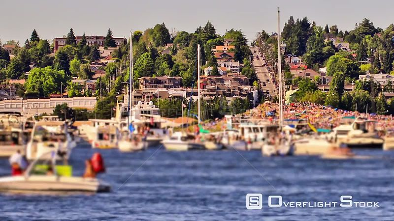 Boat traffic time lapse in Lake Union Washington