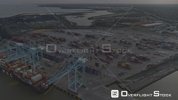 Mobile Alabama shipyards and landscape panning left to right towards downtown skyline  DJI Inspire 2, X7, 6k