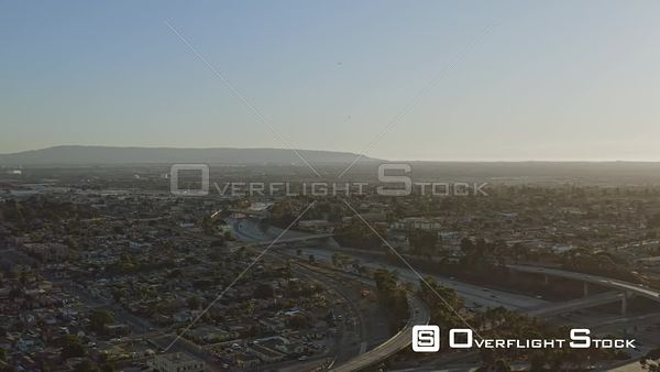 Los Angeles Panoramic cityscape view from south LA area with freeway interchange