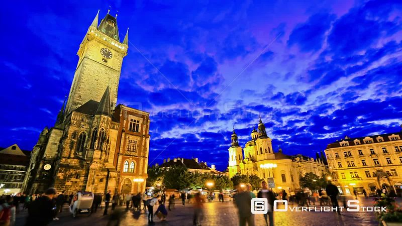 City and pedestrian traffic time lapse of Old Town Square in Prague Czech Republic