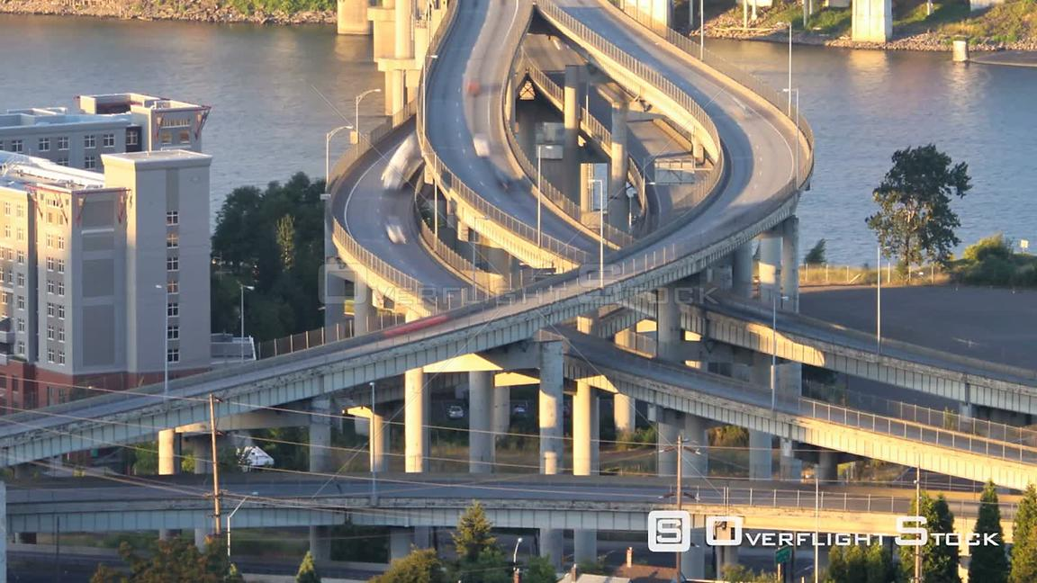 Portland Oregon Time lapse of I5 Marquam bridge traffic during sunset.