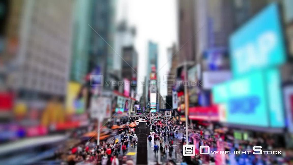 NYC New York USA Busy city traffic time lapse of Times Square using a circular blur effect.