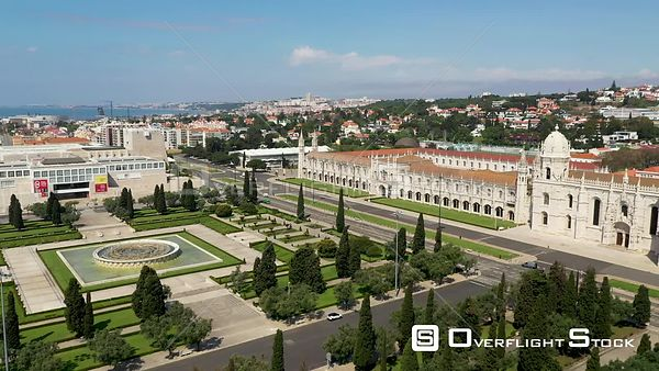 Aerial shot over of Jerónimos Monastery and Empire Square, in Belém, Lisbon, empty streets During Covid-19 Pandemic Portugal