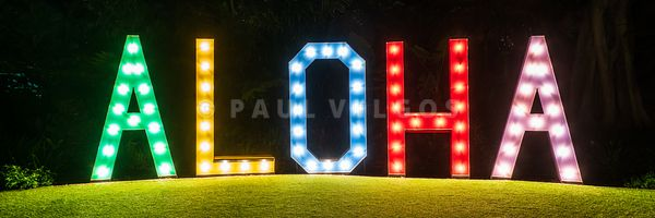 Maui Hawaii Aloha Sign at Night Panorama Photo