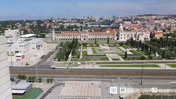 Aerial reverse flyby of Monument to the Discoveries, in Belém, Lisbon, empty streets During Covid-19 Pandemic Portugal