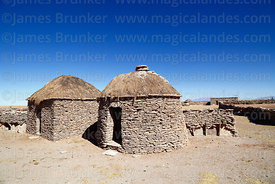 Houses in a Chipaya community made from flat, sedimentary, stromatolite rocks, Oruro Department, Bolivia