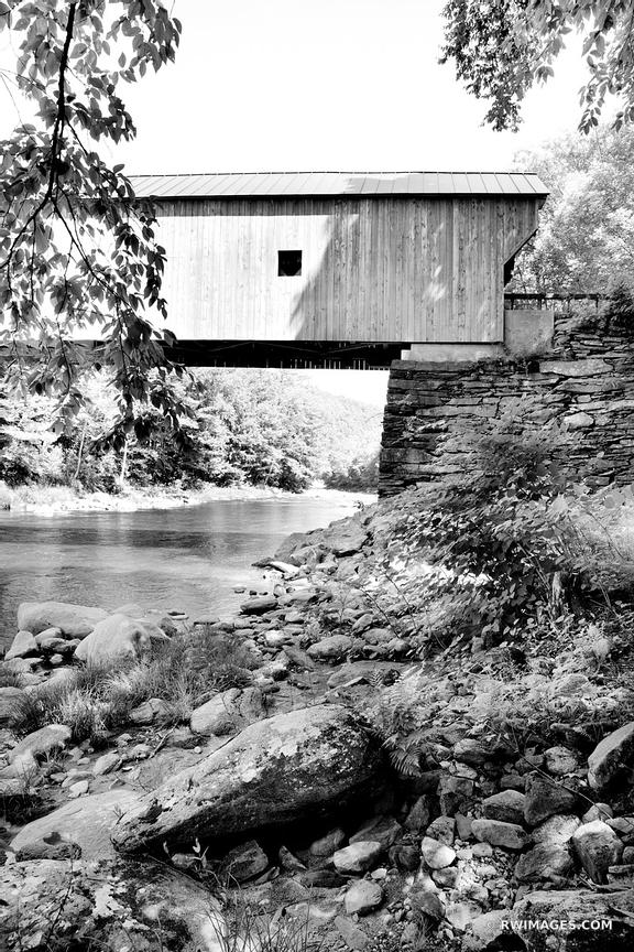 OLD WOODEN COVERED BRIDGE VERMONT BLACK AND WHITE VERTICAL