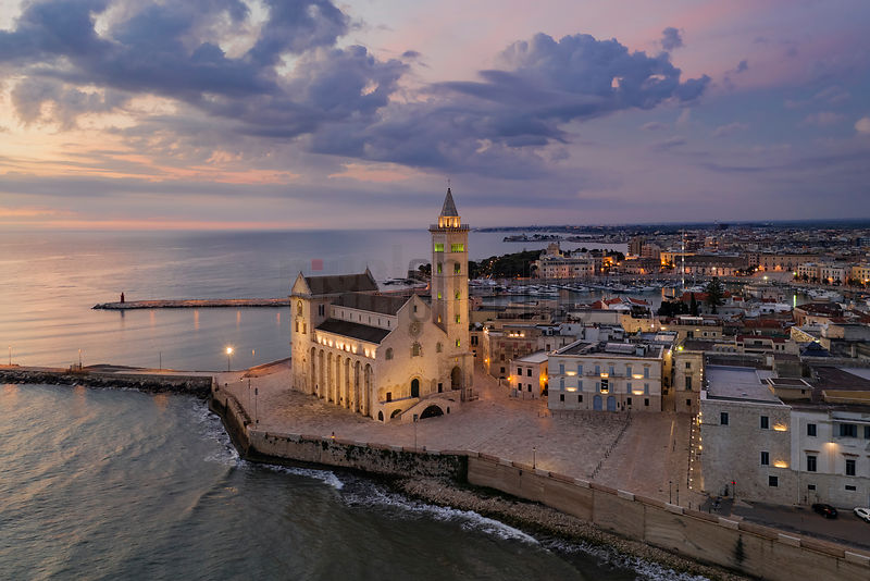 Elevated View of the Cattedrale di Trani Basilica at Dawn