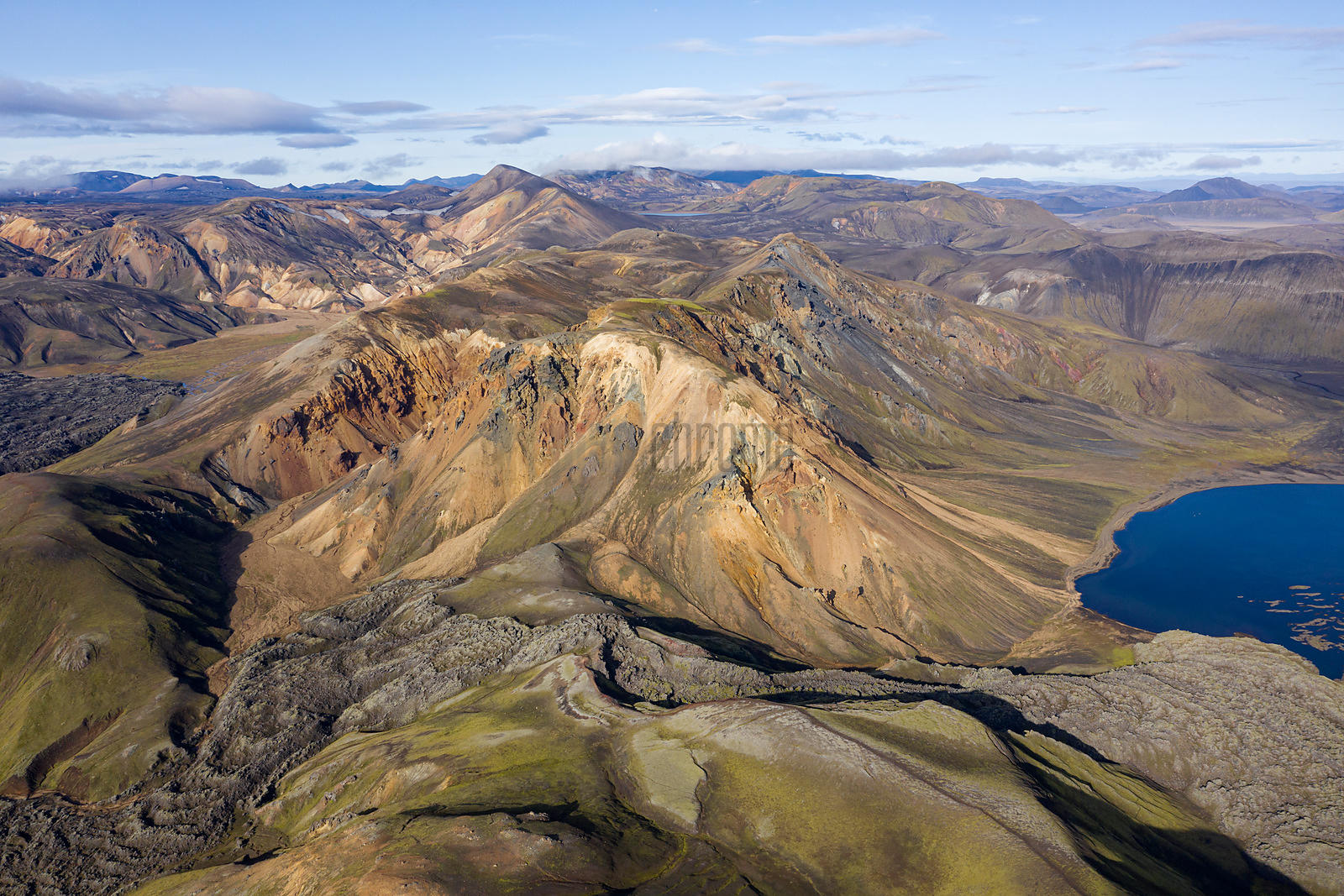 Aerial View of Frostastaðavatn Lake next to Landmannalaugar