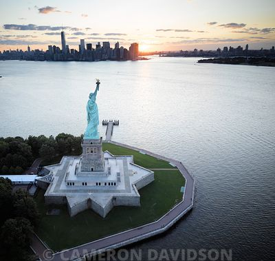 Aerial USA New York Statue of Liberty