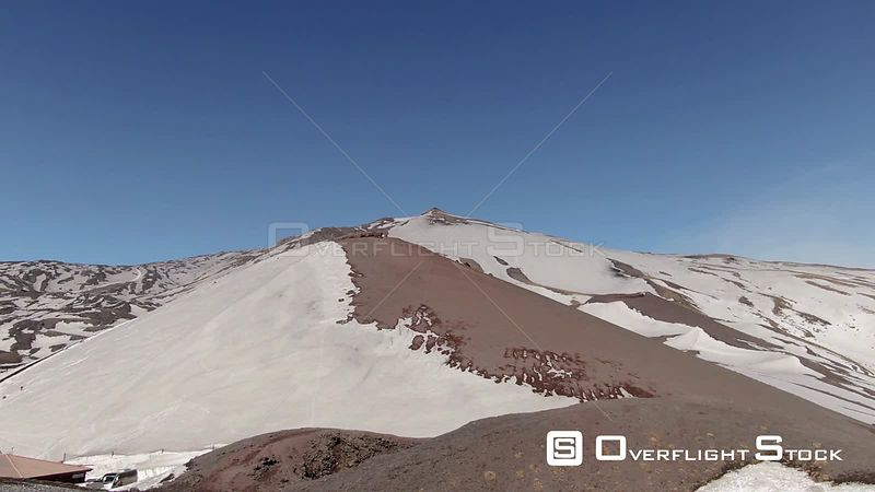 Aerial ascending view of the summit of mount Etna in Sicily, the biggest volcano in Europe. Italy