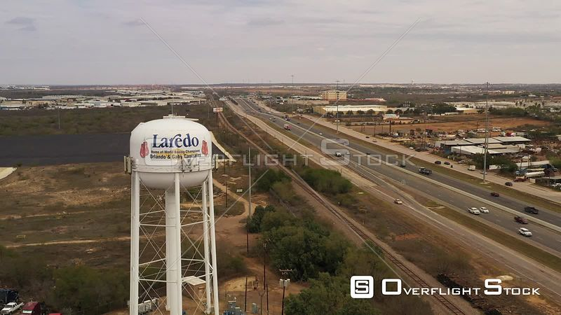 Water Tower and Interstate I-35, Laredo, Texas, USA