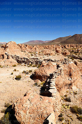 Walls of small pre Columbian site of Puca Pucara among Llajtaq`Aqa rock formations near Villa Mar, Nor Lípez Province, Bolivia
