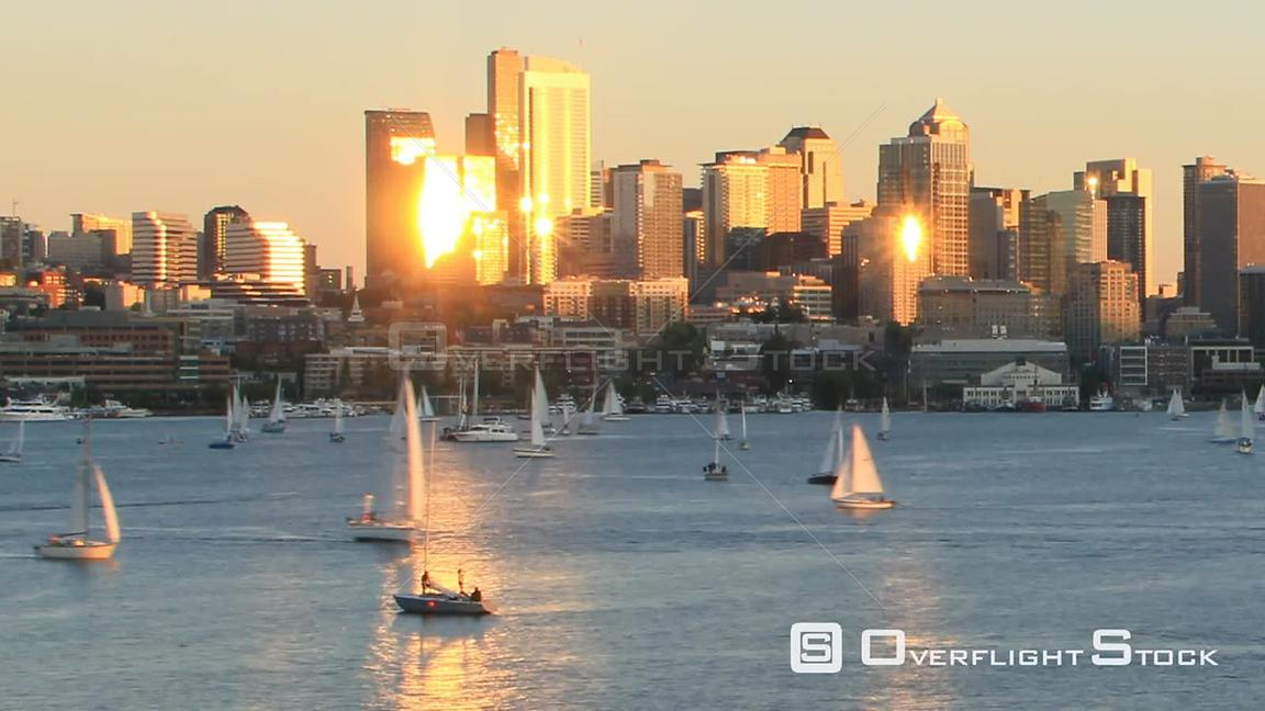 Seattle Washington State USA Time lapse clip of sailboats sailing on Lake Union on a beautiful sunny day with Seattle citysca...