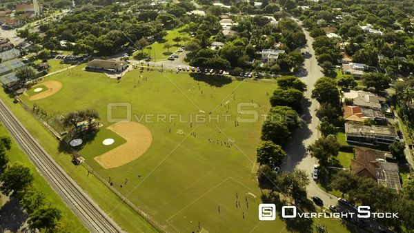 Soccer Fields Miami Shores Park Florida Aerial Video