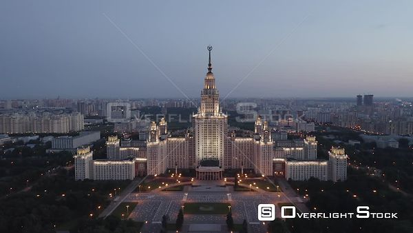 Dusk Moscow State University With City Lights Approach. Moscow Russia Drone Video View