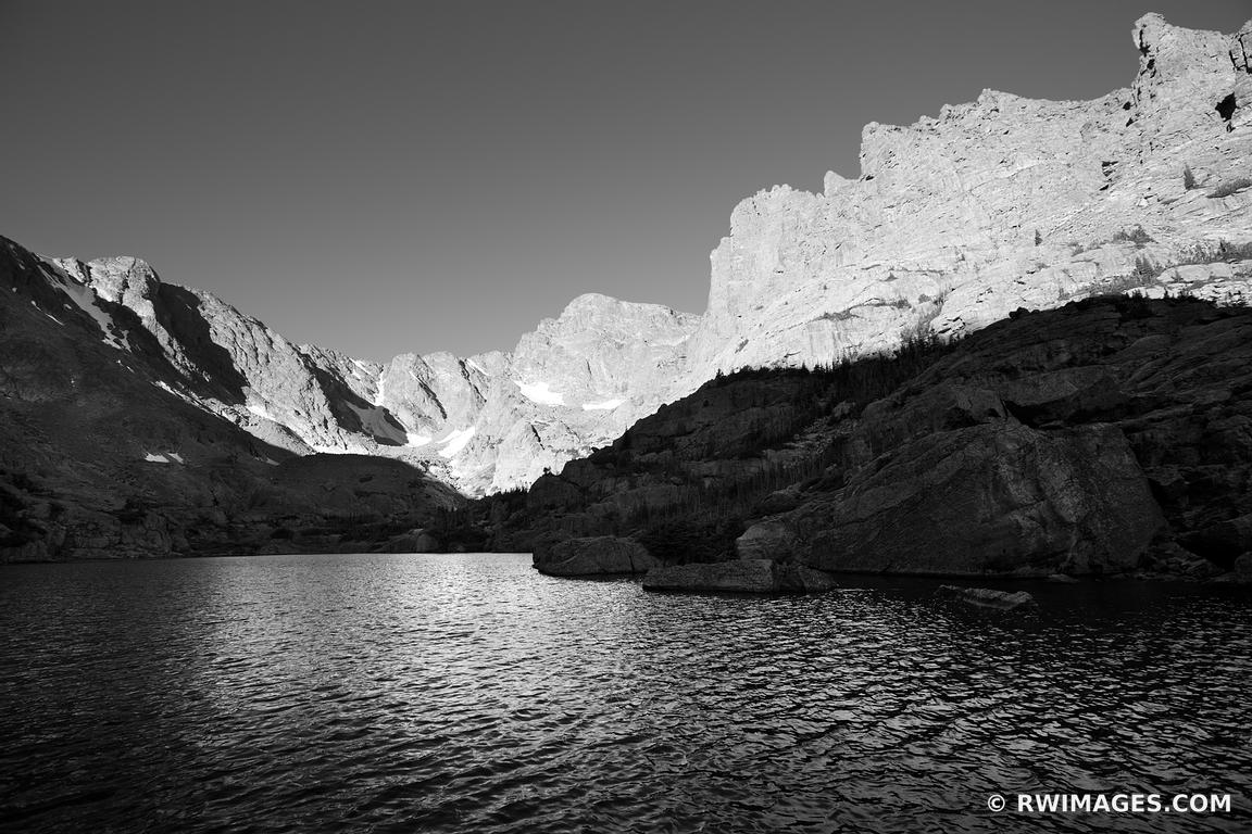 SKY POND ROCKY MOUNTAIN NATIONAL PARK COLORADO BLACK AND WHITE