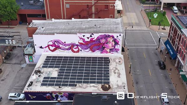 Street Art Murals on Old Brick Buildings Downtown, Dubuque, Iowa, USA