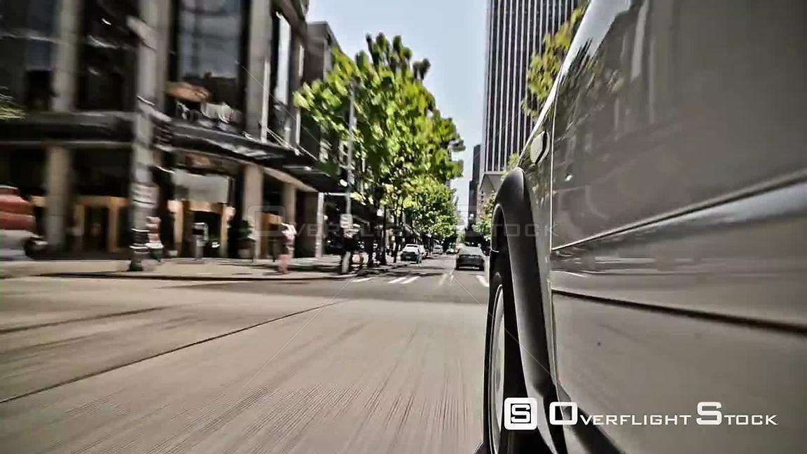 Seattle Washington State USA Seattle city driving time lapse clip using a cartoon like video effect.