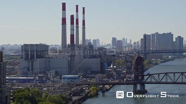 NYC New York Ascending view of Dutch Kills Power Station moving toward Roosevelt Island
