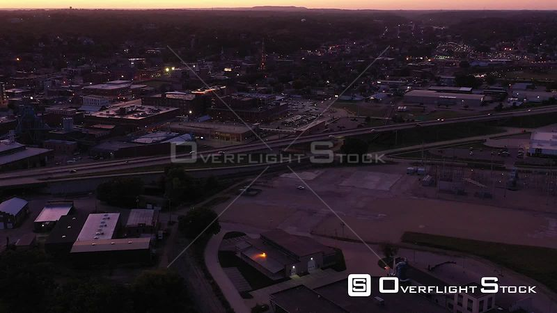 River City Overview at Dusk, Dubuque, Iowa, USA