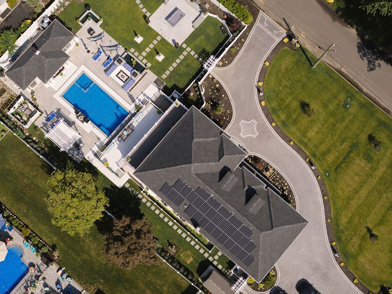Aerial of home with Solar Panels